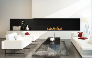 modern living space with fireplace