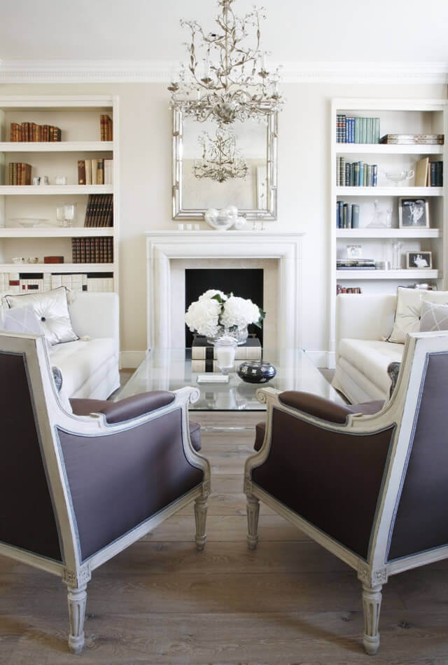 white interior with fireplace