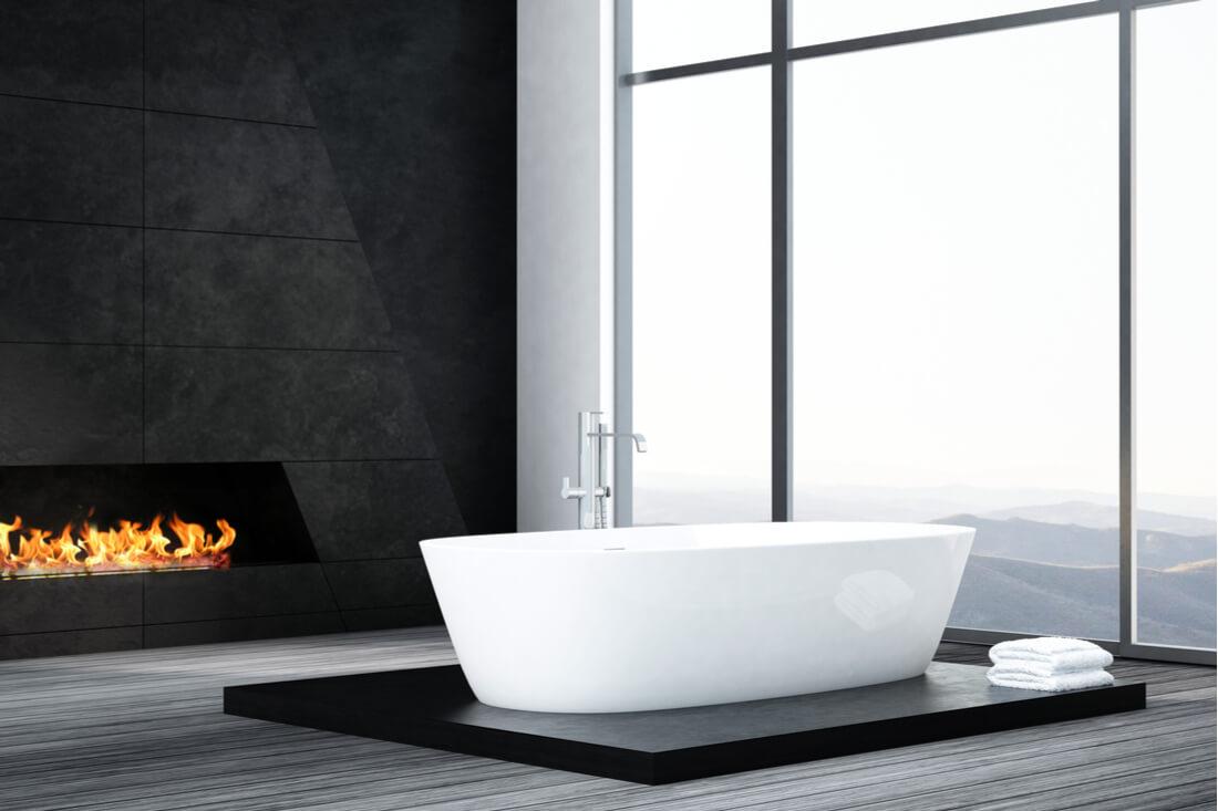 fireplace design trends bathroom