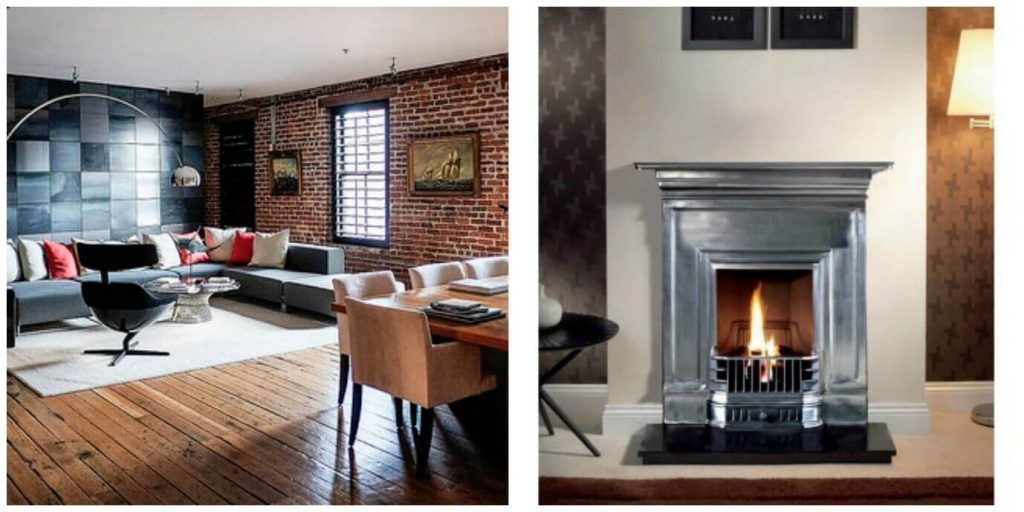 Industrial style fireplaces