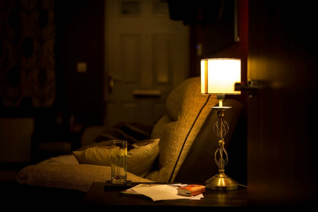 Dimly lit ramp by lamp light