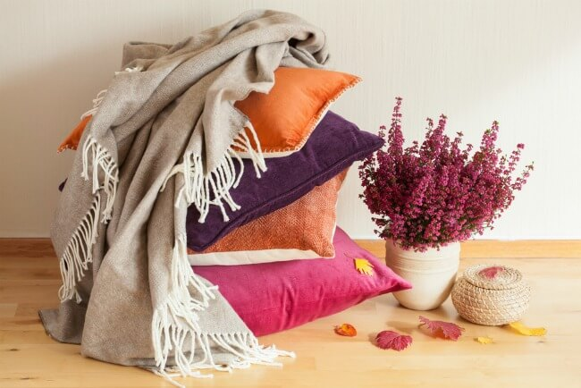 Cosy throw on some pillows