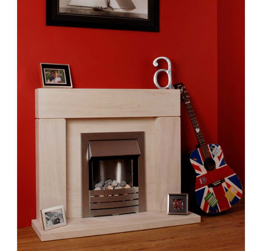 Limestone fireplace with guitar