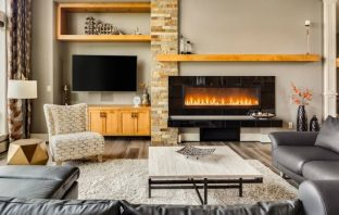 Modern fireplace in a living room