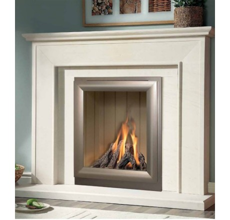 Aurora Limestone Fireplace Package complete with Verine Meridian Gas Fire
