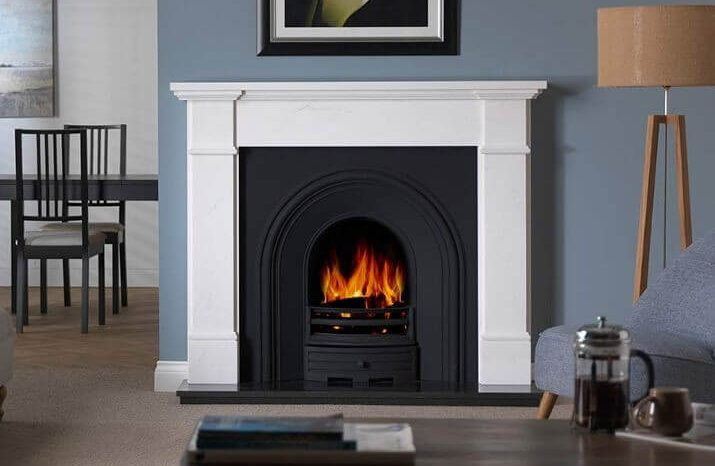 """PENMAN COLLECTION 56"""" VELLETRI MARBLE FIREPLACE"""