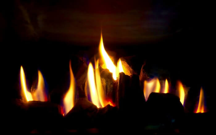 Flames of a gas fire