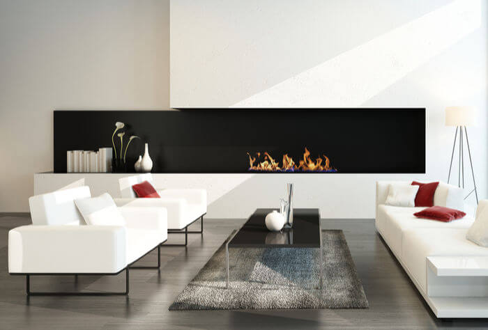 modern hole in the wall fireplace ideas with monochrome black and white decor