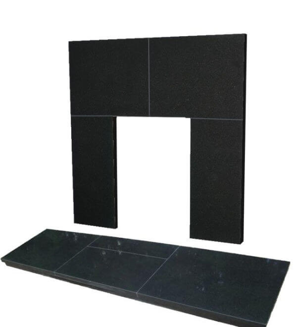 48 Inch x 15 Inch Slabbed Black Granite Hearth And Back Panel Set