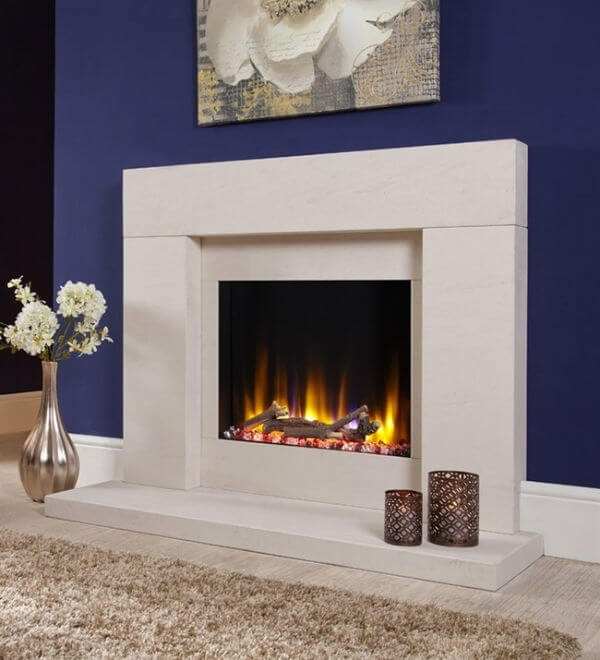 Celsi Ultiflame VR Rennes Electric Fireplace Suite with limestone hearth