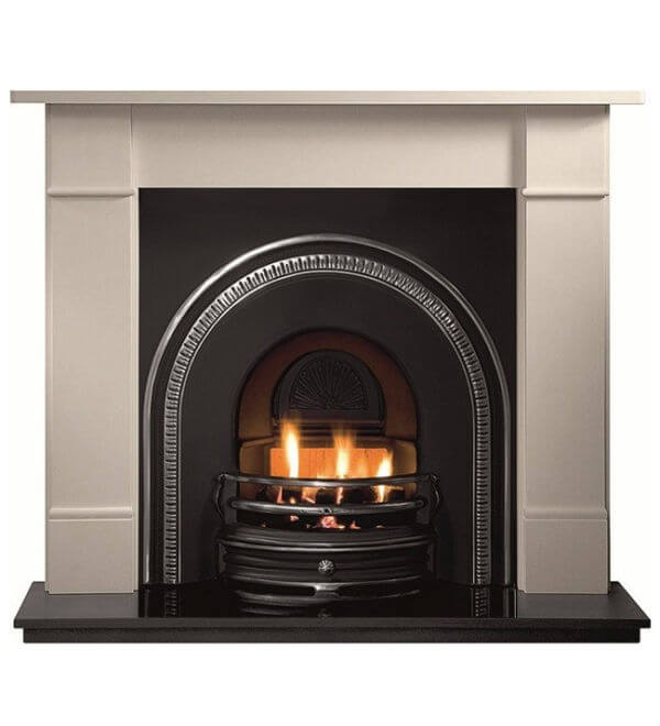 Gallery collection tradition cast iron fire inset with granite hearth