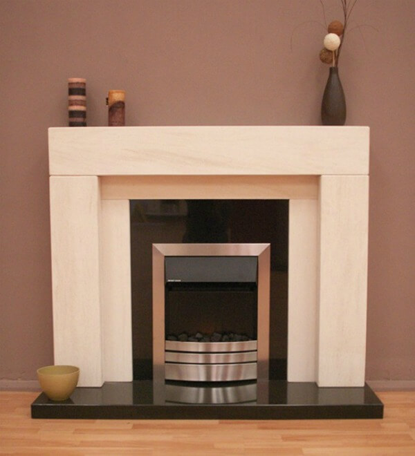Fireside Stonehenge Limestone Fireplace with Granite Hearth and Back Panel