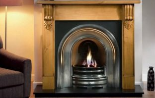 Grand Corbel Wooden Fireplace Package With Crown Cast Iron Fire Insert
