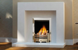Belgrade Polar White Marble Fireplace With Gas Fire
