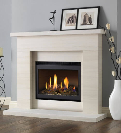 Pureglow Drayton Limestone Fireplace Package With Chelsea HE Gas Fire