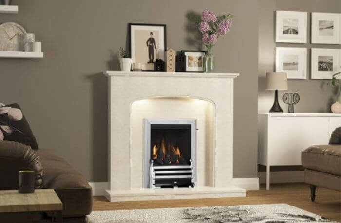 Cream and chrome small fireplace