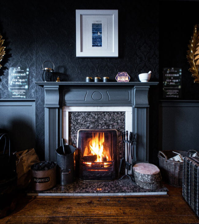 Fireplace painted black