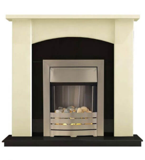 Holden Fireplace Suite in Ivory with Modern Electric Fire