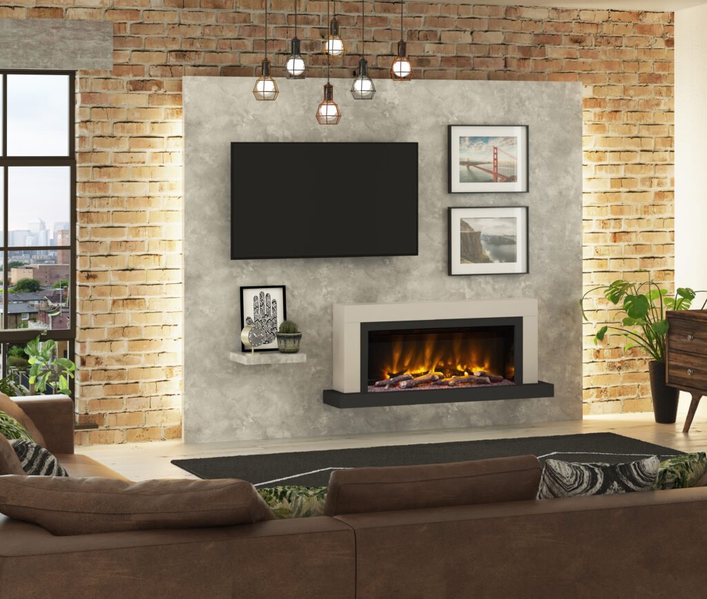The Elgin and Hall PRYZM Vardo Timber Electric fireplace will make a stunning accompaniment to your television as part of a media wall project.