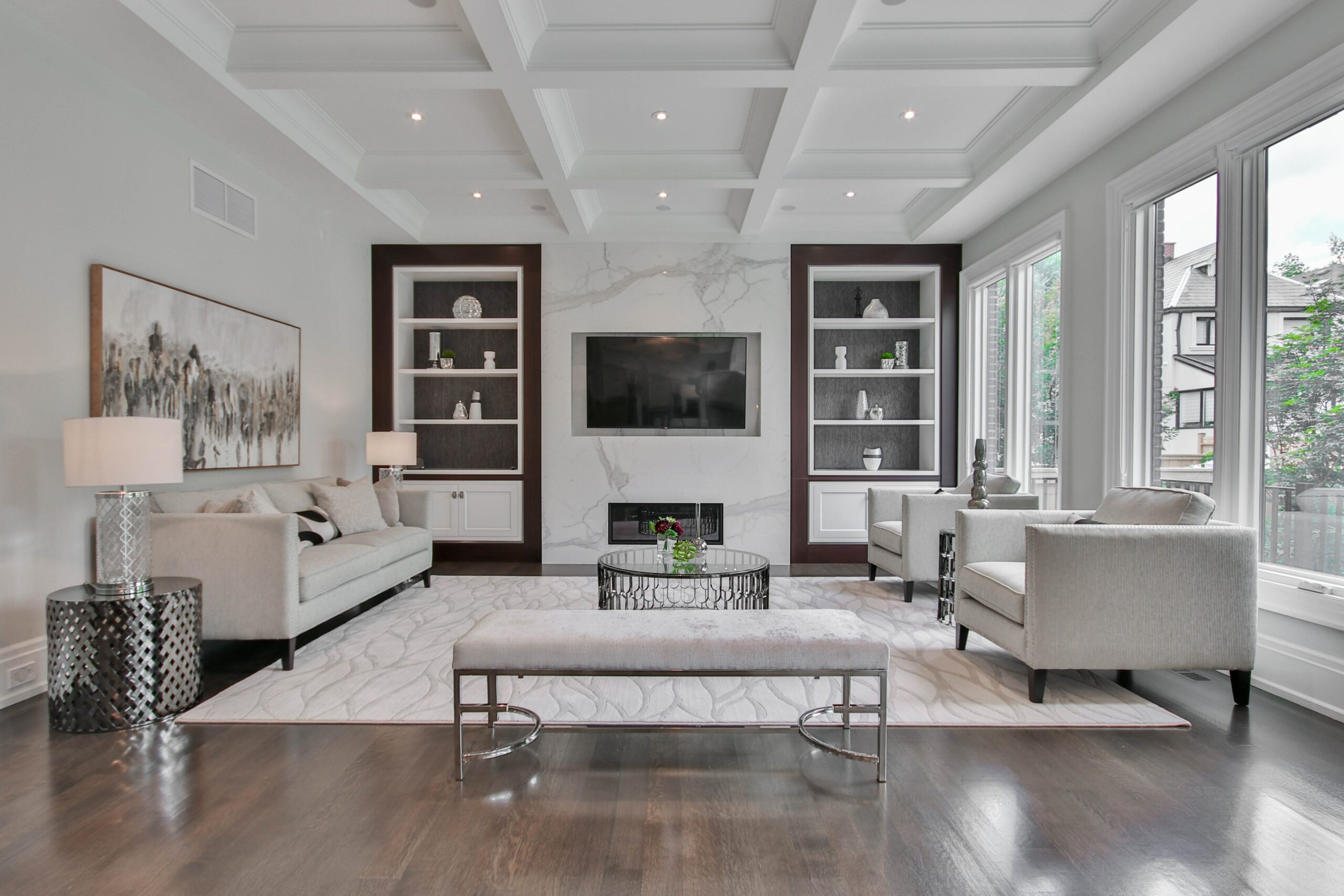 Media walls with fireplaces have become a major interior design trend in recent years