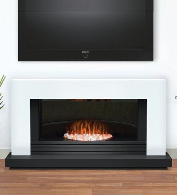 Carrera Black & White Freestanding Electric Fireplace Suite
