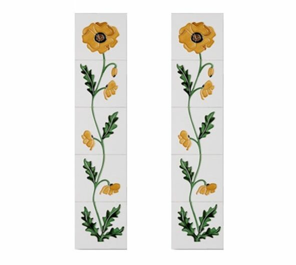 Cast Tec Field Poppy Yellow and Ivory Fireplace Tiles