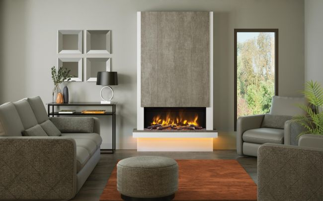 Elgin & Hall Pryzm Camino Wall Mounted Timber Electric Fireplace Suite