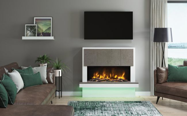 Elgin & Hall Pryzm Caselli Timber Electric Fireplace Suite