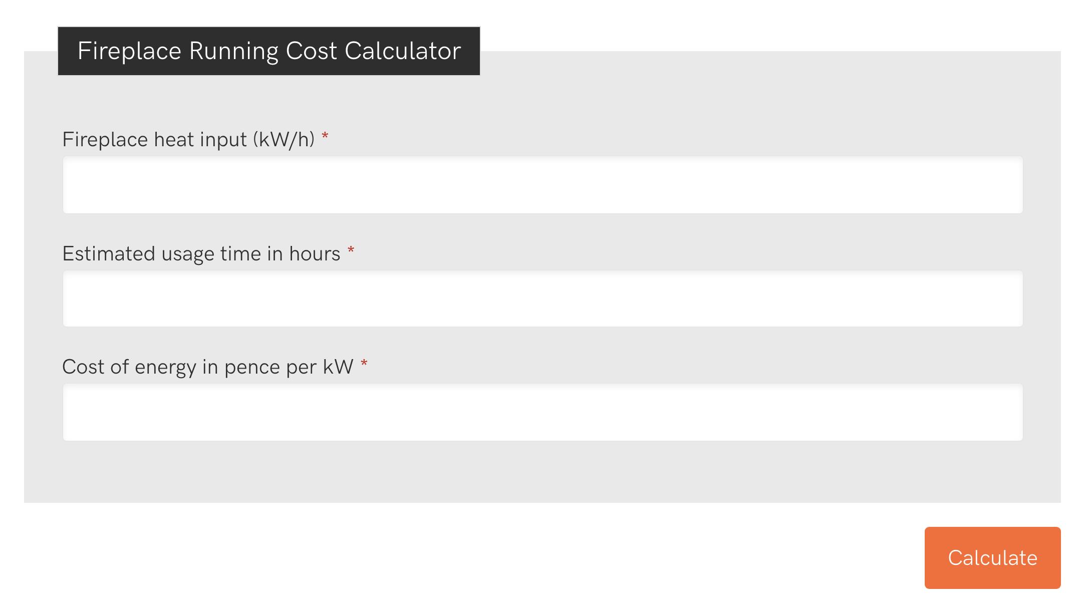 Fireplace Running Cost Calculator